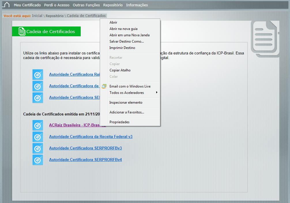 cadeia de certificados serpro
